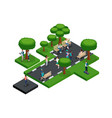 quality isometry part of the park with trees vector image vector image