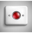 Red alarm shiny button vector image vector image