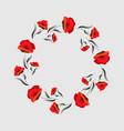 red poppy flower floral frame poppy wreath vector image vector image