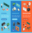school education banner vecrtical set concept 3d vector image