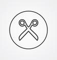scissors outline symbol dark on white background vector image vector image