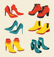 set fashionable woman shoes isolated on white vector image