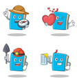 set of blue book character with explorer heart vector image vector image