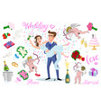 set of characters bride and groom newlyweds vector image
