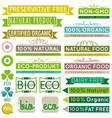 set of natural organic product labels and emblems vector image