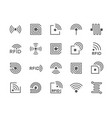 set rfid chip line icons antenna circuit tag vector image vector image