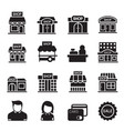 silhouette shop building icon set vector image vector image