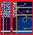 silk scarf gold chains and belts fashion design vector image
