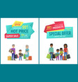 special offer banner with people shopping vector image vector image