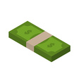 Stack of money isometric tutu of dollars on white