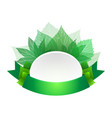 template with green ribbon and leaves and space vector image vector image