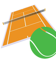 tennis court and green ball vector image vector image