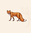 the fox looks away forest animal or ginger beast vector image vector image
