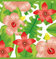 tropical flowers and leafs plants pattern vector image vector image
