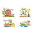 winery icon set with classic wooden barrel vector image vector image