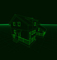 wireframe of the cottage of green lines on a dark vector image vector image