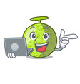 with laptop fresh melon isolated on character vector image