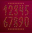 number set from christmas lights vector image