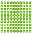 100 woman shopping icons hexagon green vector image vector image