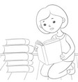 a children coloring bookpage a reading girl image vector image