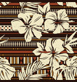 abstract hibiscus flower tribal fabric wallpaper vector image
