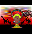 african tribe clothes female zulu bantu portrait vector image vector image