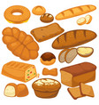 bread icons set for bakery shop pie wheat bagels vector image vector image