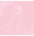 bride with bouquet vector image vector image