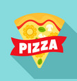 cheese pizza slice logo flat style vector image