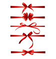 collection set red bows with horizontal ribbon vector image