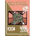 Color vintage real estate agency banner vector image vector image