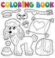 coloring book dog theme 4 vector image