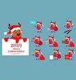 cute deer wearing santa claus hat and scarf vector image