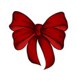 decorative realistic red bow isolated on white vector image vector image