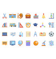 education colladge school knowledge icons set line vector image vector image
