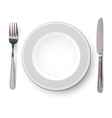 Empty plate with knife and fork on a white vector image vector image