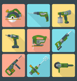 flat house remodel power tools icons vector image vector image