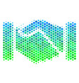 halftone blue-green acquisition handshake icon vector image vector image