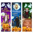 halloween ghosts dracula vampire pumpkins bats vector image vector image