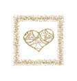 happy valentine s day with golden glitter effect vector image