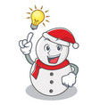 have an idea snowman character cartoon style vector image vector image
