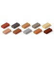 isometric bricks isolated set colorful 3d vector image