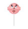 lollipop happy emoji candy on stick merry emotion vector image vector image