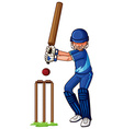 Male athlete playing cricket vector image vector image
