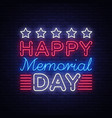 memorial day memorial day neon sign vector image vector image