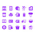 online shop color silhouette icons set vector image