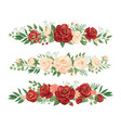 panoramic flowers borders rose bud flower border vector image vector image
