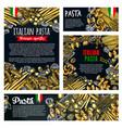 pasta italian food poster of spaghetti or macaroni vector image vector image