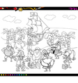 pirates cartoon coloring book vector image vector image