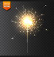 realistic christmas sparkler on transparent vector image vector image